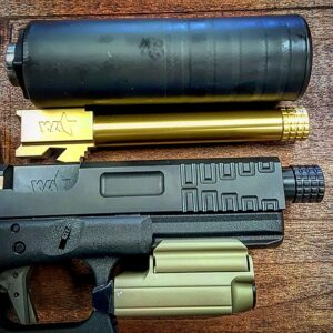 Wheaton Arms TiN Gold Match Grade Barrel & silencerCo Omega 9K suppressor